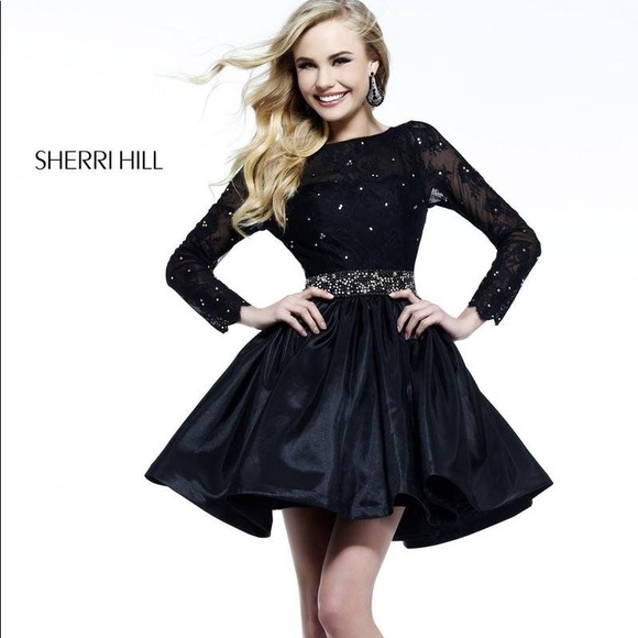 enjoy best price shop low priced Sherri Hill long sleeve lace cocktail dress